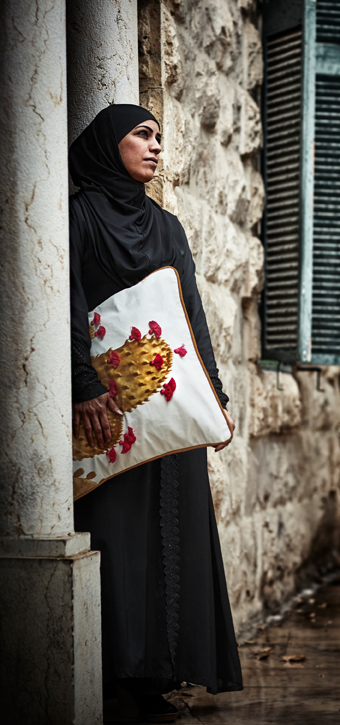 Abeer Almnajed is one of the artisans behind TILLTALANDE - a collection of unique, handcrafted textiles, designed to create jobs. Made in collaboration with Jordan River Foundation and women artisans – Jordanian alongside refugees.