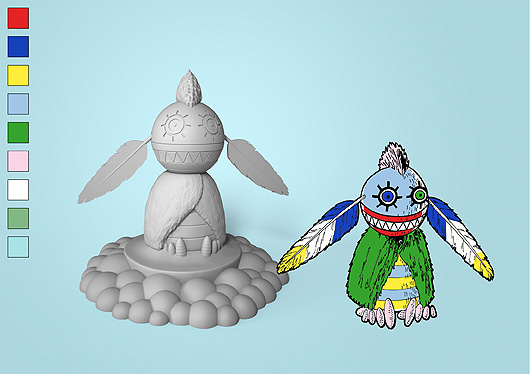 A drawn fantasy figure with a round head with two big feathers and a body covered in a green fur coat. Shown together with the 3D version.
