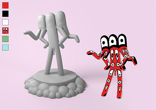 A drawn red fantasy figure with two legs, four arms and eyes all over the body. Shown together with the 3D version.