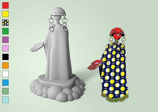 A drawn fantasy figure with a red bowl-shaped head, big earrings and a blue floor-length cape with yellow dots. Shown together with the 3D version.