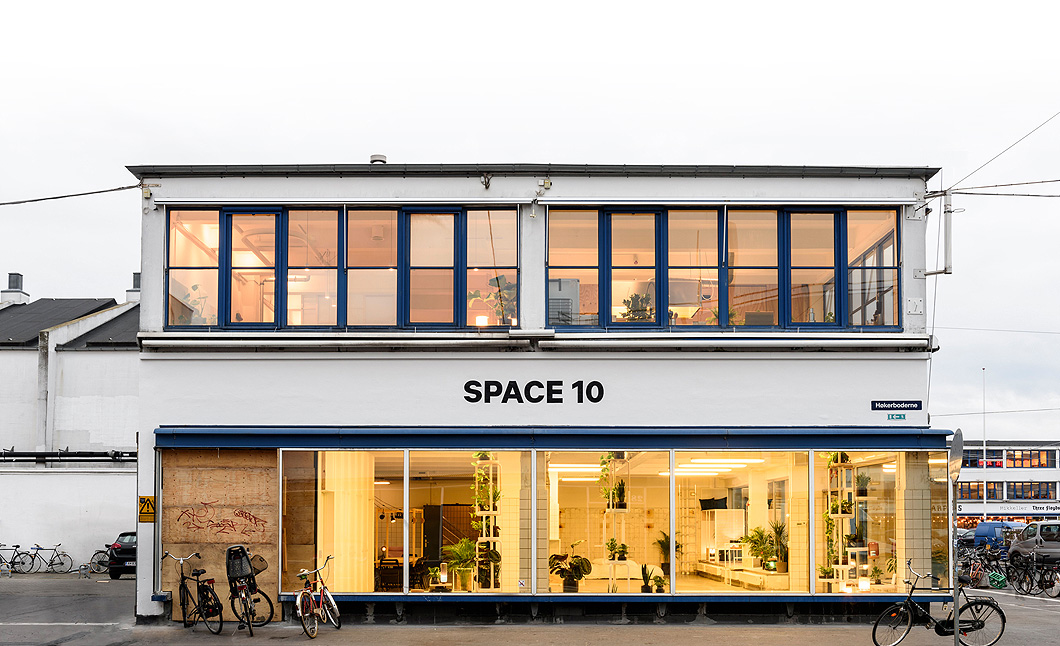 A photo of Space10, a research hub and exhibition space, seen from the outside.