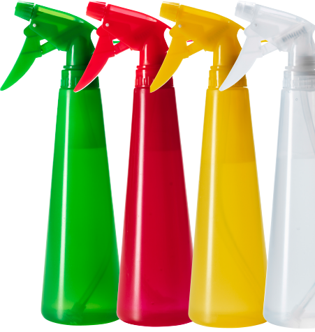 Four plastic spray bottles on a line, one green, one red, one yellow and one white.