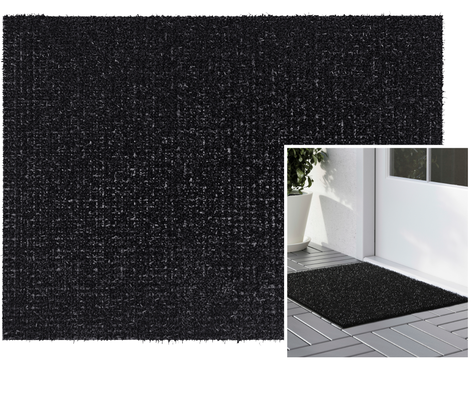 A black plastic door mat outside the front door.