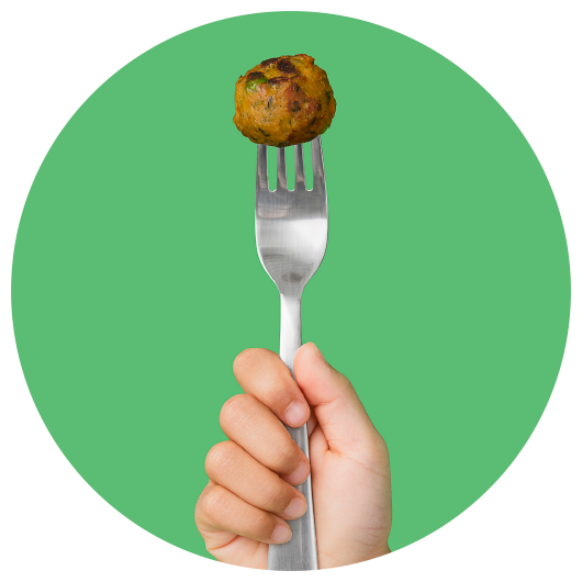 An IKEA veggie ball, a healthy, sustainable alternative to the iconic IKEA meatball.