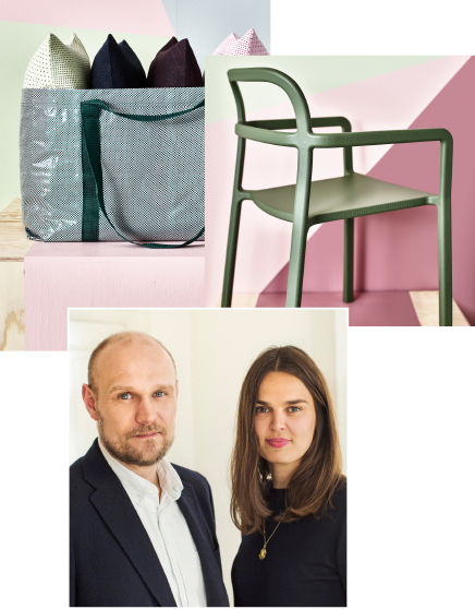 The IKEA YPPERLIG bag in green and white, created in collaboration with Hay.  The IKEA YPPERLIG chair with armrests designed in collaboration with Hay
