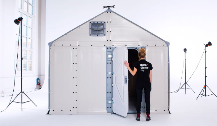 A Better shelter that has been assembled in a photographic studio