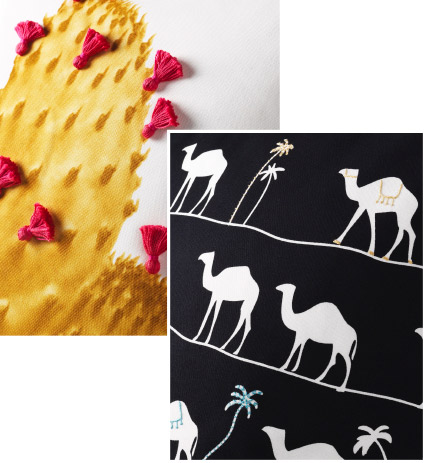 Close ups of the cactus and camel motifs featured in the IKEA TILLTALANDE collection.