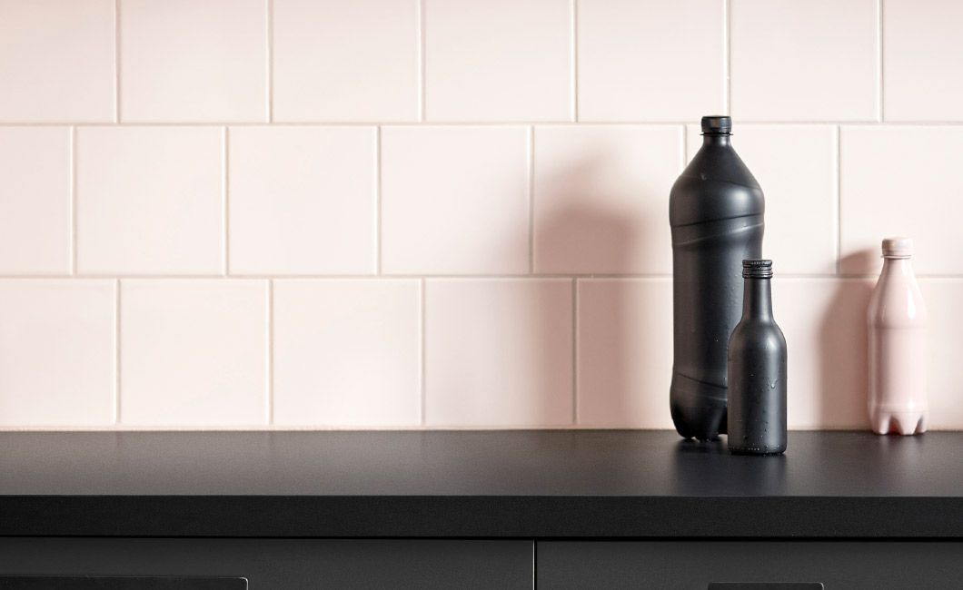IKEA KUNGSBACKA kitchen fronts are made from old PET bottles.