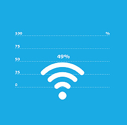 Illustration of Wi-Fi waves and text in white on a blue background.