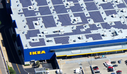 Bird's eye view of an IKEA store with solar panels