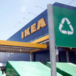 Customer recycling station at an IKEA store