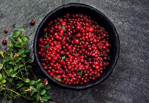 Red lingonberries in a black bowl with lingonberry twigs on the side, seen from above.