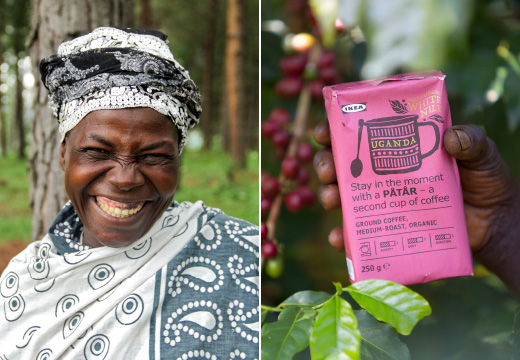 A woman smiling in Uganda, next to a hand holding a pink bag of coffee beans.