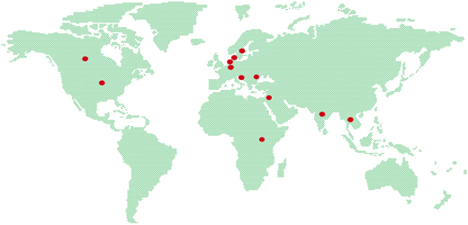A map showing the countries where IKEA are working with social entrepreneurs.