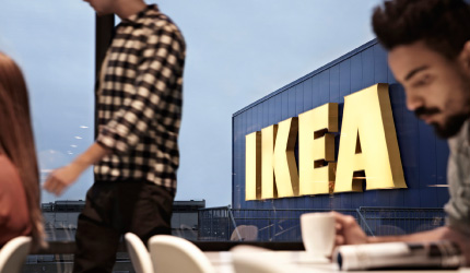 Customers enjoy a cup of coffee and relax in an IKEA restaurant