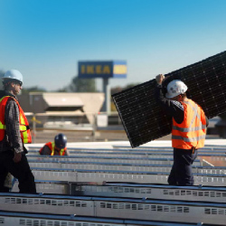 Installing solar panels on an IKEA store