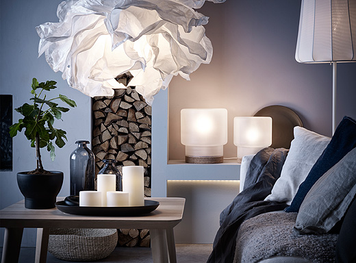 A living room with lamps that uses LED bulbs.