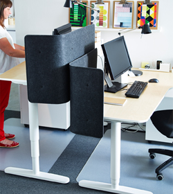 Two desks that can be adjusted in height so that you can both sit and stand. Shown together with black screens attached to the desks, for privacy.