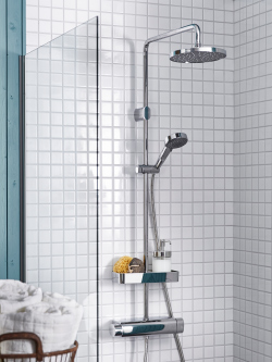 A flow regulator in IKEA BROGRUND shower reduces the water flow and saves water.
