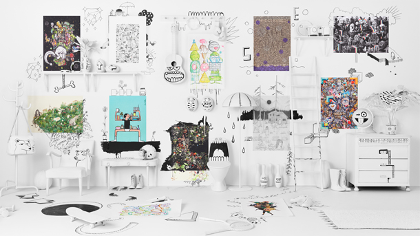 A white wall with 12 diverse posters, from internationally known artists, that is a part of a limited edition collection at IKEA.