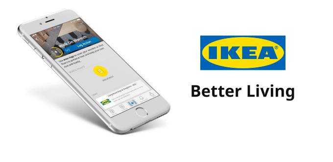 "A silver colored mobile phone featuring the IKEA Better Living App next to the IKEA logo and ""Better Living"" slogan"