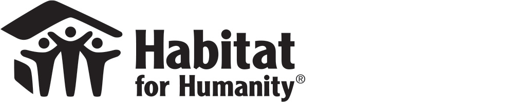 A black and white Habitat for Humanity logo.