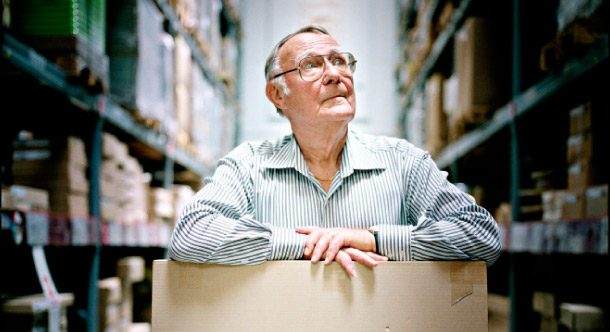 Ingvar Kamprad in the self-service warehouse of an IKEA store