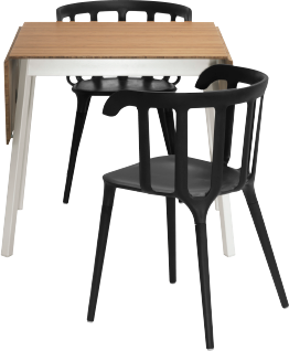 Table with bamboo table top, white legs, and two black dining chairs made from wood plastic composite.