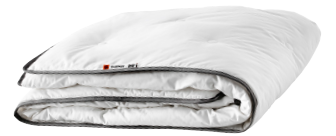 Folded, white duvet cover with grey seams.