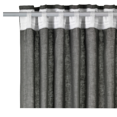 Close up of curtain rod with a dark grey linen curtain.