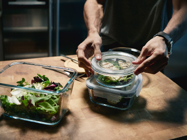 IKEA glass containers with lids filled with food leftovers means less food goes to waste.