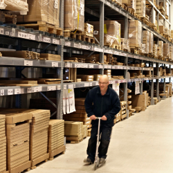 An IKEA co-worker inside the IKEA self-service warehouse