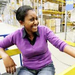 An IKEA co-worker at the distribution center