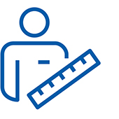 Pictogram of a man and a ruler.