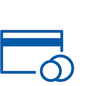 Pictogram of a credit card and two coins.