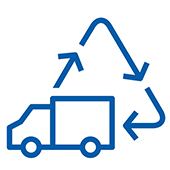 Pictogram of a truck and a series of arrows shaping a triangle.