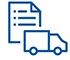 Pictogram of a shopping list and a truck.