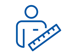 Pictogram of a man with a ruler.