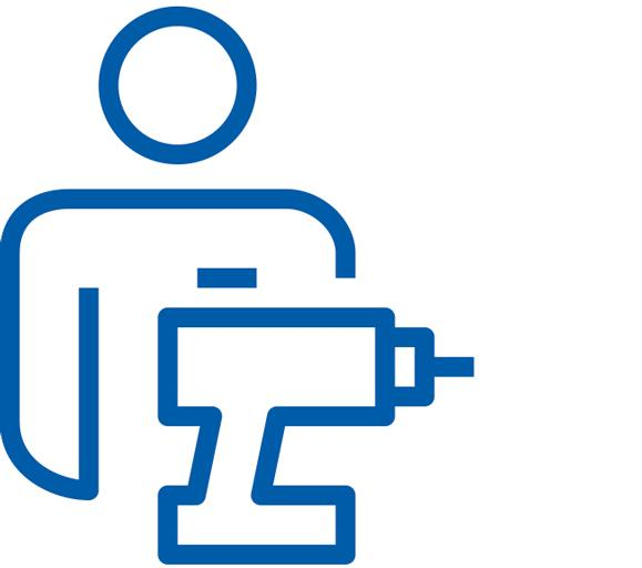 Pictogram of a man and a drill.