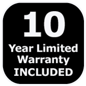 10 year limited warranty included logo