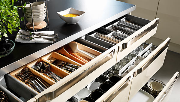 Small kitchen organizers for drawers and cabinets