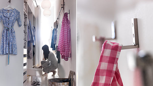 Small space | Walk-in closet room divider - IKEA - Small Bedroom With Wardrobe