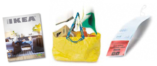 Image of catalogue, yelow bag, and price tag.