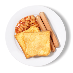 French Toast, Sausage & Beans