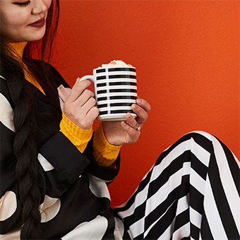 Let's reminisce back to the 70's and 80's with MORGONDOFT Mug, black/white stripe, celebrating IKEA 75 years.