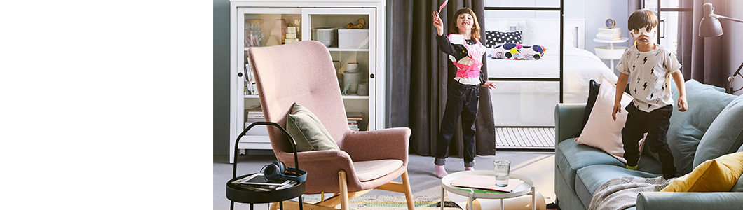 The 2019 IKEA Catalogue cover features two children playing in a living room. They can show you how to access the digital version and order a printed copy.
