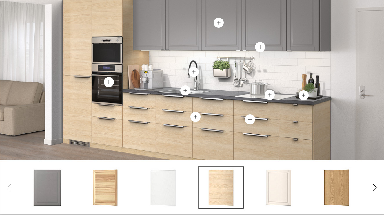 An image of a kitchen, showing possible alternatives to how it could be personalised using knobs, covers, worktops and colours.