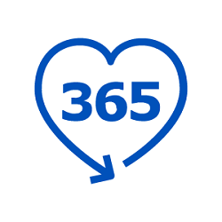 Pictogram of the number 365 enclosed by an arrow in the shape of a heart.