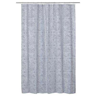 ÄNGSKLOCKA Shower curtain, white/blue, 180x180 cm