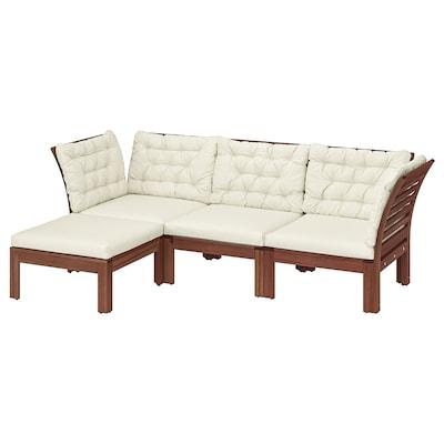 ÄPPLARÖ 3-seat modular sofa, outdoor, with footstool brown stained/Kuddarna beige, 143/223x80x80 cm